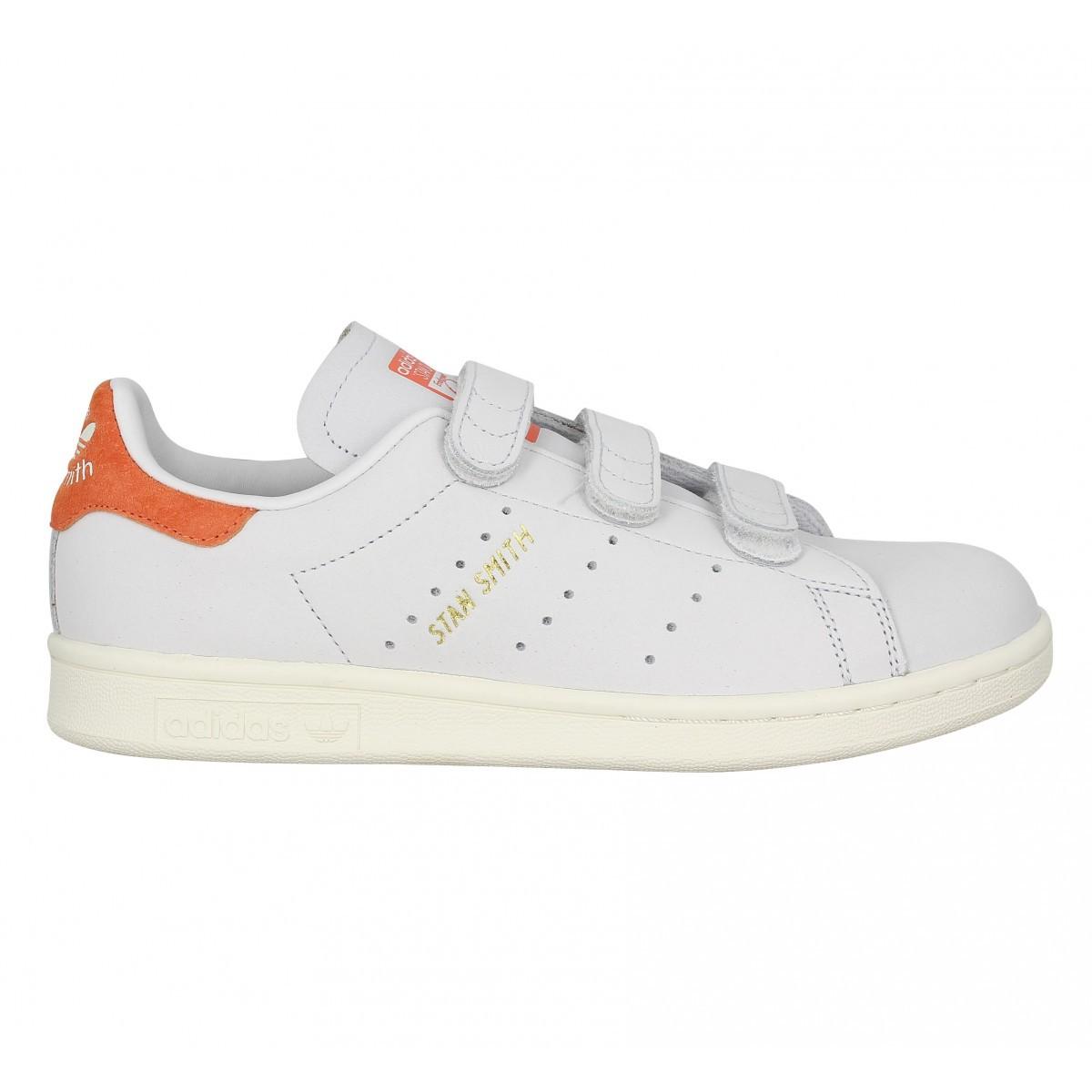 Adidas originals Stan Smith Blanche Et Orange pas cher